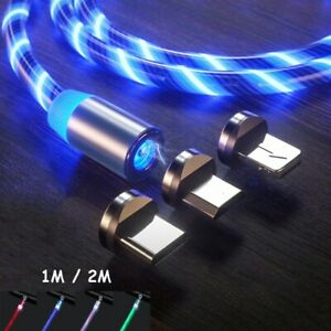 360° LED Flowing Lightup Magnetic Fast Charging Cable Type-C Micro USB Charger