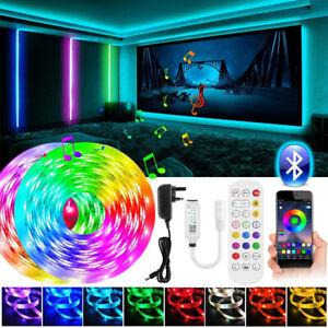 15M RGB 5050 LED Strip Lights Bluetooth + Remote App Control Music Sync UK Plug