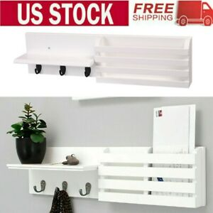 "24""x 6"" Wall Shelf and Mail Holder Coat Key Rack Home Wall Mount with 3 Hooks"