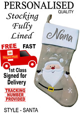 Grey SANTA Personalised Beautiful Quality Lined Christmas stocking