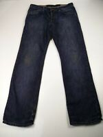MENS FRENCH CONNECTION W35 L32 DARK BLUE WASH STRAIGHT LEG CASUAL JEANS TROUSERS