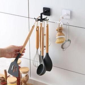 Kitchen Storage Rotating Hook Wall Hanging Nail-Free Spatula Spoon Rack Hanger