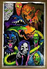 6a5ab2c5199 Nightmare Monsters Blacklight Poster Psychedelic Vintage Pin-up Flocked  Velvet