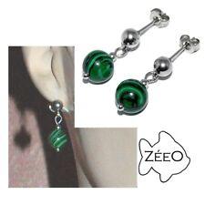 ZEEO Boucles d'oreilles en acier et perle de Malachite bijou earring