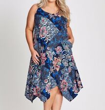 Plus Size Autograph Blue Trapeze Floral Viscose Midi Dress Size 14 Free Post