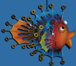 Fish Tea Light Holder Colourful Novelty Fish Metal Garden Ornament Novelty Art