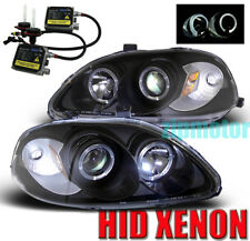 96 97 98 HONDA CIVIC HALO PROJECTOR HEADLIGHT+HID JDM BLACK CX DX EX GX HX LX SI