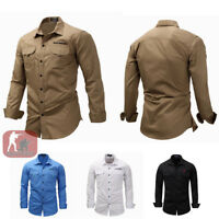 Mens Army Cargo Shirts Long Sleeve Shirt Military Tactical Combat Sport Casual