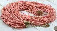 Erika Lyons Necklace Pink CoarL cOLOR gLASS sEED bEAD gOLD mULTI sTRAND