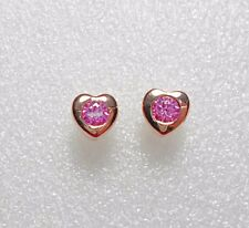 925 St silver heart studs, made with pink Swarovski crystals rose-gold plt'd