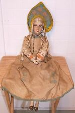 """1920s Vintage 30"""" FRENCH BOUDOIR DOLL, Kungsholm West Indies Cruises, Gerb?"""