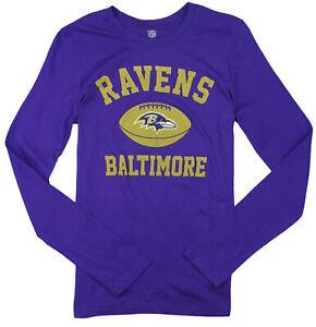 NFL Youth Girls Baltimore Ravens Long Sleeve Standard Shirt - Purple