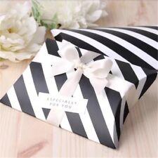 50x Pillow Boxes Black White Stripe Birthday Party Wedding Favours Boxes Sweets