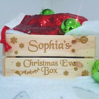 Personalised Christmas Eve Box Solid Wooden Engraved Box Printed Xmas Crate