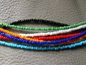 """14-22"""" long glass beaded choker necklace WHITE GLASS SEED BEADS unique"""