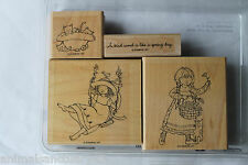 """Stampin Up A Kind Word set of 4 """"Retired"""" Girls, Swing, Flowers, Kittens, Spring"""