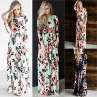 Womens Long Maxi Dress Long Sleeve Bodycon Dress Party Summer Beach Sundress