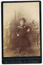 Sweet Little Boy Wearing Sailor Shirt and Skirt Bachmann NY Cabinet Photo 1890's