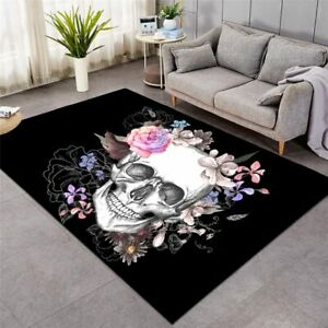 Black Flower Sugar Skull Goth Rectangle Rug Carpet Mat Living Room Bedroom