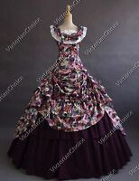 Civil War Southern Belle Princess Gown Scarlett O'Hara Dress Cosplay Costume 081