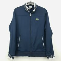 Lacoste Mens Vintage Sweatshirt Jumper Full Zip LARGE Navy Blue Polyester