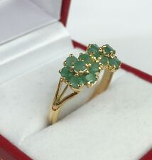 14k Solid Yellow Gold Two Flowers Ring, Natural  Emerald 1.0 TCW,Sz 8.25