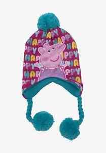 Peppa Pig Winter Peruvian Trapper Fleece Warm Blue Hat (52cm) and Neck Warmer