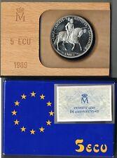 ESPAÑA 5 ECU PLATA. Año 1989. Carlos V Emperador. Peso 33.60 gr.