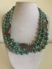 Statement Necklace 18� 139 Gram Wow Vintage Sterling Silver & Turquoise Bead Bib