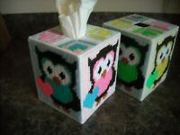 TISSUE BOX COVER - ADORABLE OWLS (1)- Plastic Canvas