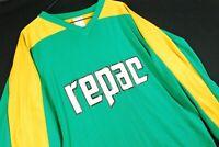 Vintage 80s Repac Motocross Jersey Dirbike Racing Hockey Green Yellow Mens L