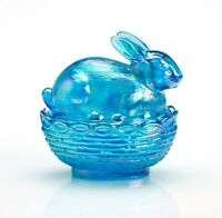 MOSSER GLASS EASTER BUNNY ON BASKET DISH COLONIAL BLUE CARNIVAL