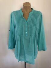 Target Tunic Top Sz 14 Aqua Blue Cotton Pin tuck 3/4 Sleeves GUC