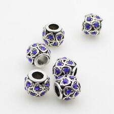 5pcs Czech Crystal Tibetan Silver Heart Rondelle Charm Spacer Beads fit Bracelet