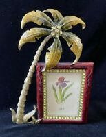 Enamel Rhinestone Embellished Palm Tree Picture Frame 2x3 Photo Tropical Decor