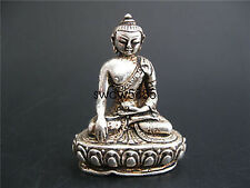 TIBET DECORATED HANDWORK OLD MIAO SILVER CARVED Tibet Buddha WONDERFUL STATUE NY