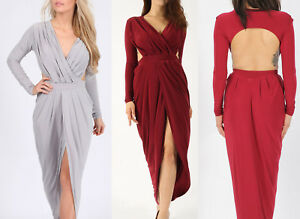 Womens Prom Maxi Dress Long Sleeve Ladies Evening Dresses Party Beach Sundress