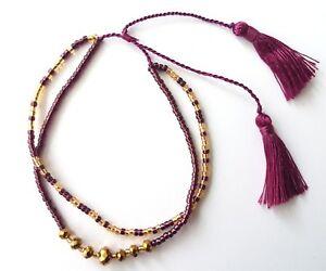 Seas and Breeze Boho beaded tassel handbeaded bracelet adjustable lengths