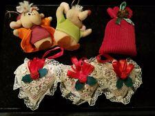 "6 Christmas Ornaments mouses & potpourri Approx 3""h"