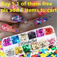 12 Grids Holographic Nail Art 3D Butterfly Glitter Sequins Laser Flakes Gel Tips