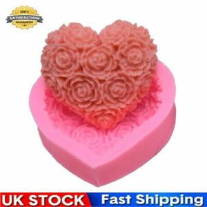 3D Heart-shaped Rose Flower Cake Mold DIY Chocolate Dessert Mould  Handmade Tool