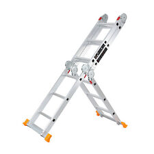 Aluminum Ladder Foldable 12.3Ft Step Scaffold Extendable Platform Multi-Function