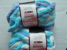 Needle Crafters Jumbo Shimmer Chenille yarn, blue/lavender/white, lot of 2