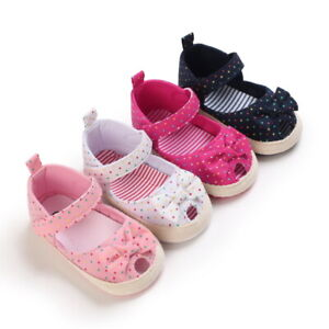 Newborn Baby Girls Crib Shoes Infant Princess Bow Soft Sole First Step Trainers