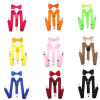 Kids Baby Suspender and Bow Tie Matching Set Boys Girls Adjustable Suspenders