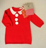 BNWT NEW NEXT Baby Girls Red Ivory Knitted Dress & Matching Tights Set 3-6months