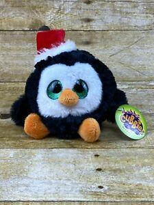 """NEW Fiesta Lubby Cubbies Big Eyed Christmas Penguin Plush Toy 4"""" NWT #X15181"""