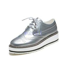Chic Womens Brogues Oxfords Flat Platform Creeper Lace Up Retro Wingtip Shoes