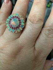 Ethiopian welo opal and Burmese  ruby in Platinum Overlay sterling silver ring