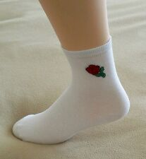 Crew Socks w/ Rose embroidered on side Sz 6-9 Pkg of 2 1 Black 1 White